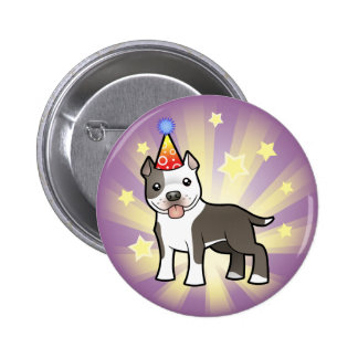 Birthday Pitbull / American Staffordshire Terrier 6 Cm Round Badge