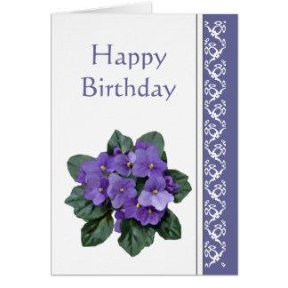 Birthday, Poem African Violet Purple Flower Card