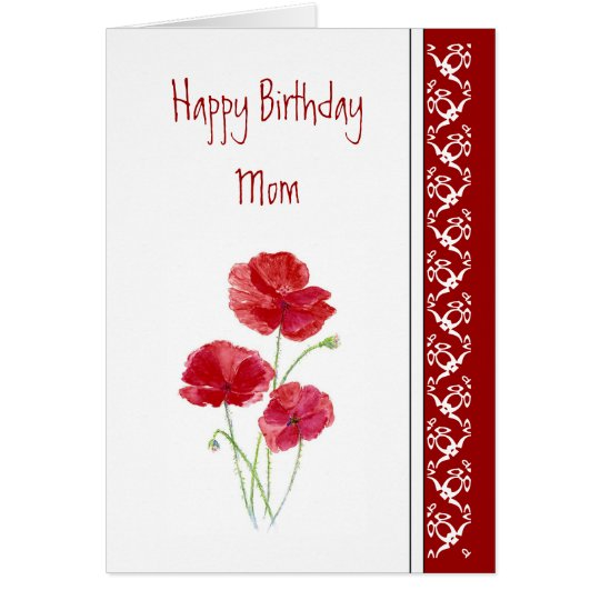 Birthday, Poem Red Poppies Garden Flowers Card