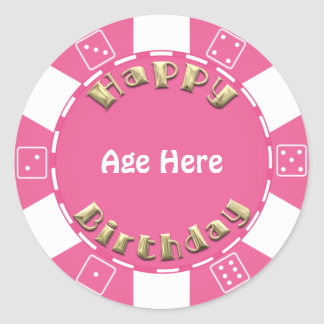 Birthday Poker chip add age sticker