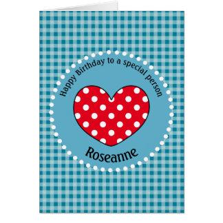 Birthday Polka Dot Love Heart Gingham Personalized Card