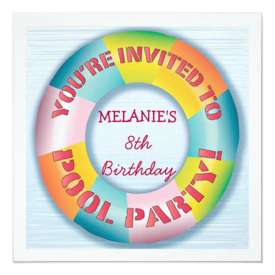 Birthday Pool Party Colourful Fun Float Invitation