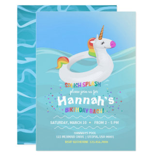 Birthday Pool Party Unicorn Float Invitation