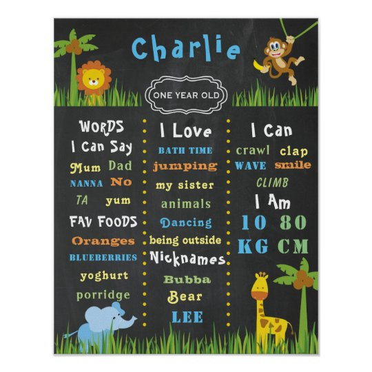 Birthday Poster Baby Jungle Theme One Party Sign