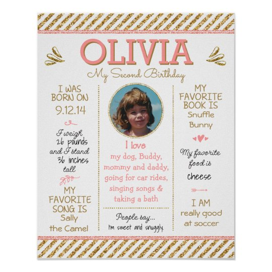 Birthday Poster with Photo, Pink, Gold Glitter