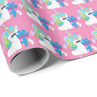 Birthday Present Unicorn girls wrapping paper
