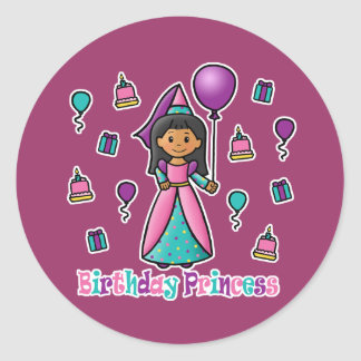 Birthday Princess Classic Round Sticker