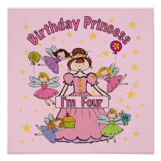 Birthday Princess I m Four T-shirts and Gifts Posters