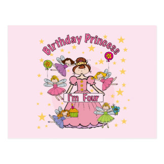 Birthday Princess I'm Four T-shirts and Gifts Postcards