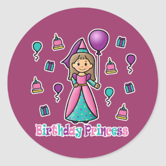 Birthday Princess Round Sticker