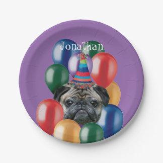 Birthday Pug dog paper plate