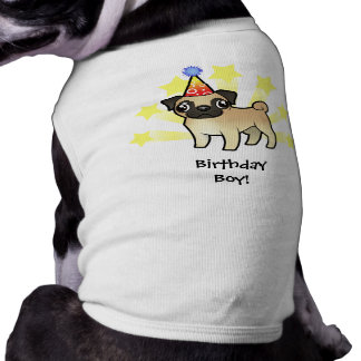 Birthday Pug Sleeveless Dog Shirt