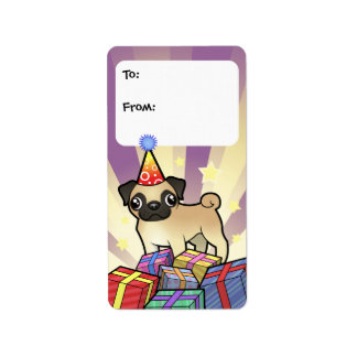 Birthday Pug Gift Tags