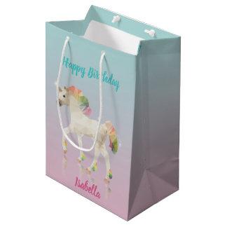 Birthday Rainbow Unicorn Name - Medium Gift Bag