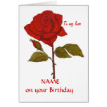 Birthday Red Rose Card. Personalise it. Greeting Card