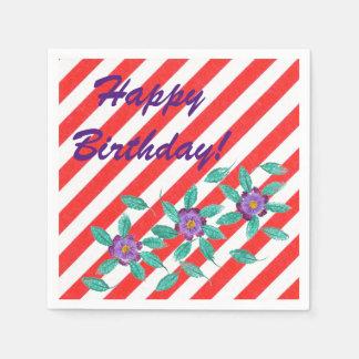Birthday Red White Stripes Purple Flowers Napkins Paper Napkin