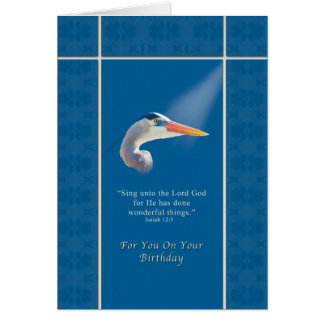 Birthday,  Religious, Great Blue Heron Bird Greeting Card