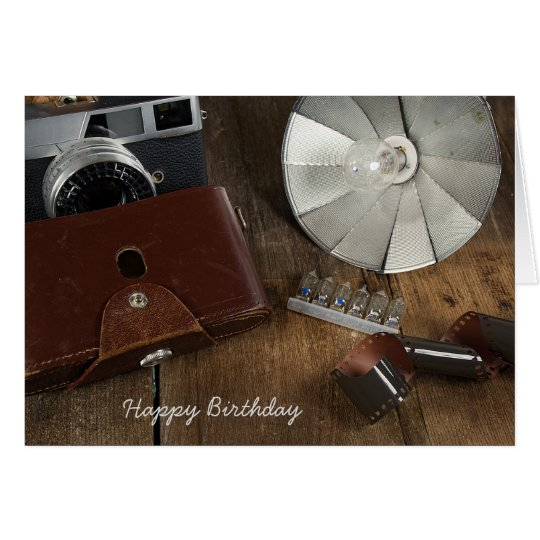 birthday-retro camera and flash bulbs card