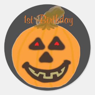 Birthday Round Stickers Smiling Halloween Pumpkin