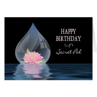 BIRTHDAY - SECRET PAL - LOTUS FLOWER IN WATERDROP CARDS