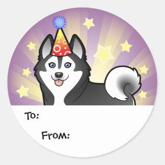 Birthday Siberian Husky / Alaskan Malamute Round Sticker