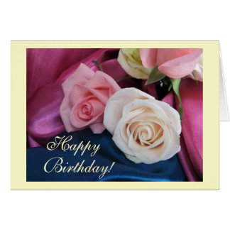 Birthday silk and roses greeting card