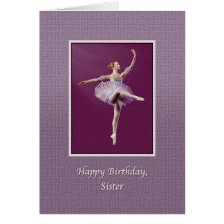 Birthday, Sister, Ballerina in Purple Card