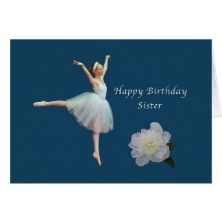 Birthday, Sister, Ballerina, White Peony Card