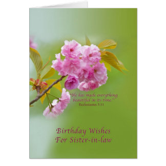Birthday, Sister-in-law, Cherry Blossoms Card