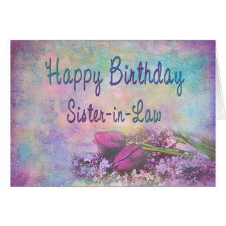 Birthday - Sister-in-Law - Floral Elegance Greeting Card
