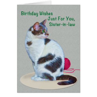 Birthday Sister-in-law Green-Eyed Cat Card