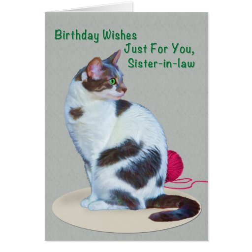 Birthday, Sister-in-law, Green-Eyed Cat Card