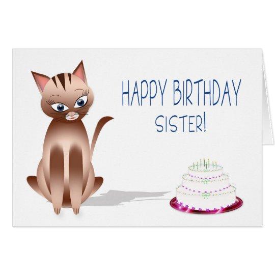 BIRTHDAY - Sister - Kitty Cat - Cake