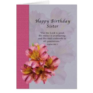 Birthday, Sister, Religious, Alstroemeria Flowers Card
