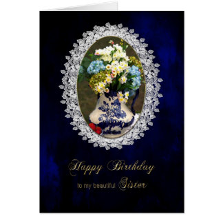 BIRTHDAY - SISTER - VINTAGE LACE CARD