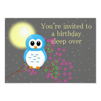 Birthday Sleepover with Owl 13 Cm X 18 Cm Invitation Card