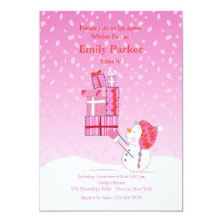 "Birthday Snowman Pink Invitation 5"" X 7"" Invitation Card"