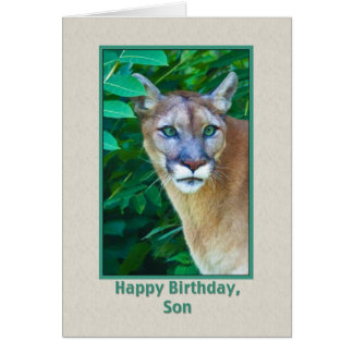 Birthday, Son, Cougar in the Jungle Greeting Card
