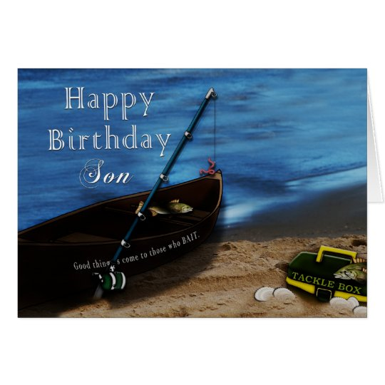 BIRTHDAY - SON - FISHING - LAKE CARD