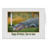 Birthday, Son-in-law, Golf, Alligator Greeting Card