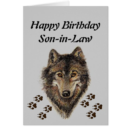 Birthday Son-in-Law, Wolf, Wolves, Animal, Nature Card
