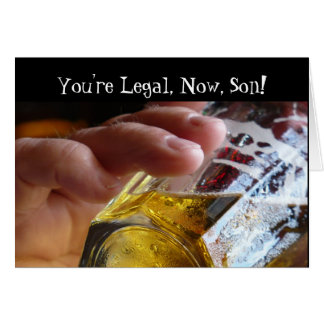 Birthday, son, legal, 21. Beer in  glass. Greeting Card