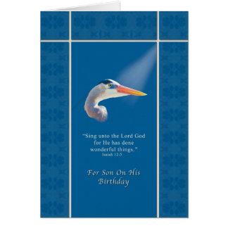 Birthday Son Religious Great Blue Heron Bird Cards