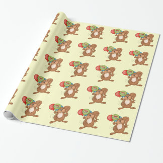 Birthday Squirrel cartoon wrapping paper