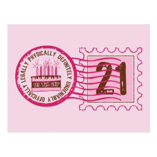 Birthday Stamp 21 Postcard