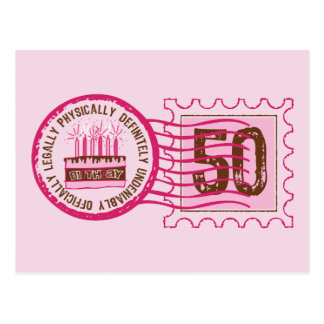 Birthday Stamp 50 Postcard