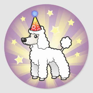 Birthday Standard/Miniature/Toy Poodle (puppy cut) Classic Round Sticker