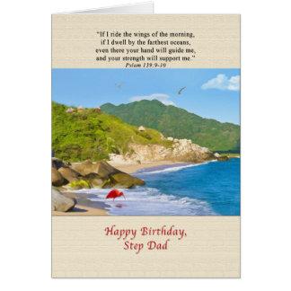 Birthday, Step Dad, Beach, Hills, Birds, Ocean Greeting Card
