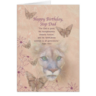 Birthday, Step Dad, Cougar and Butterflies Greeting Card