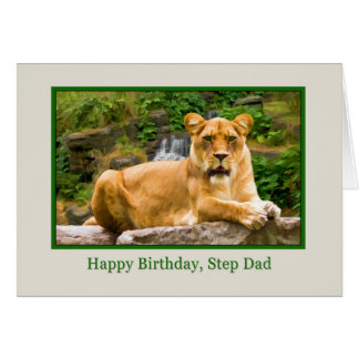 Birthday, Step Dad, Lion on a Rock Greeting Card
